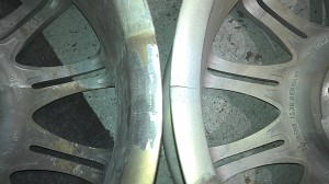 Cracked alloy wheel before and after repair by We Fix Alloys